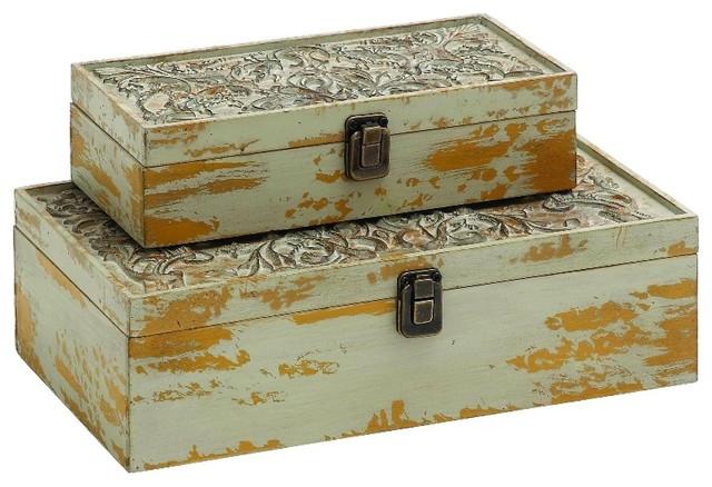 Decorative Metal Boxes With Lids : Set of wood boxes beige carved lid details metal storage