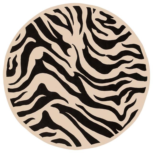 Goa Zebra Pattern Round Rug In Black