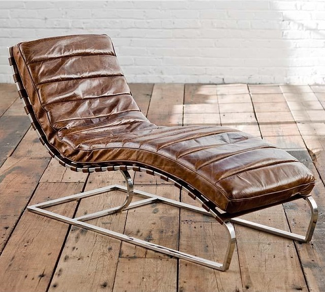 Regina andrew chaise lounge chair in vintage brown cigar for Chaise lounge brisbane