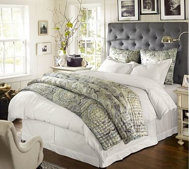 king upholstered headboard gray 2