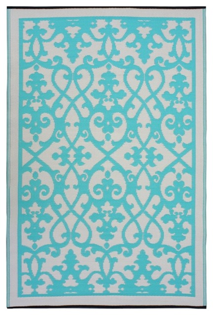fab habitat venice indoor outdoor rug cream turquoise. Black Bedroom Furniture Sets. Home Design Ideas