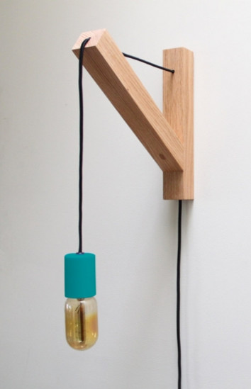 Wall Sconce With Bracket : Dino Sanchez Bracket Lamp, Blue - Eclectic - Wall Sconces - by Design Public