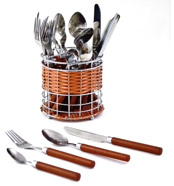 Flatware Set Of Stainless Steel With Wood Finish Design