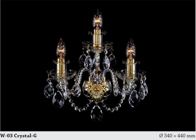 Bohemian crystal tripple wall sconce 2 - Modern - Chandeliers - hobart - by Murano Art Glass ...