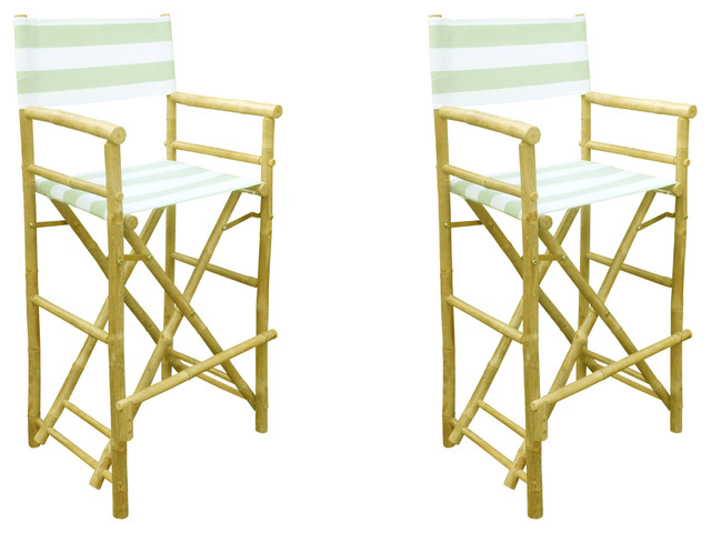 Phat Tommy Foldable Tall Directors Chair Set Kiwi Stripe Tropical Outdoo