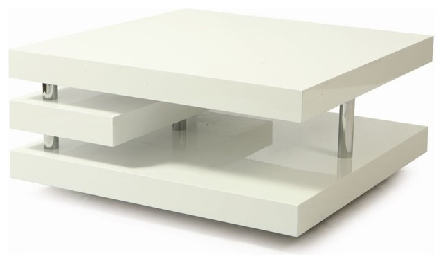 Pastel Furniture Viceroy 36 Inch Square Coffee Table In White Contemporary Coffee Tables