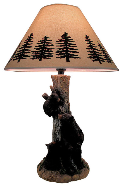 Curious Cubs in a Tree Decorative Black Bear Table Lamp ...
