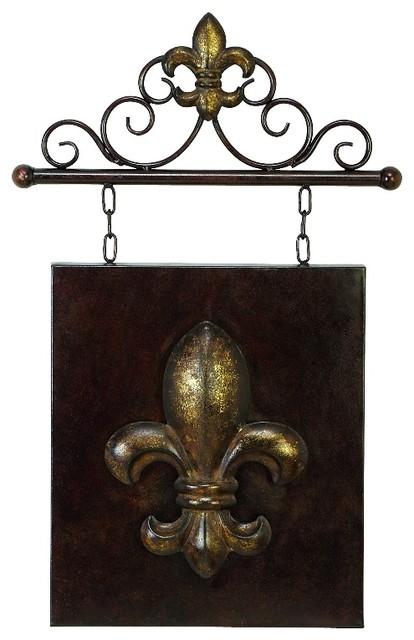 Antique style hanging metal wall plaque brown fleur de lis for Fleur de lis wall art