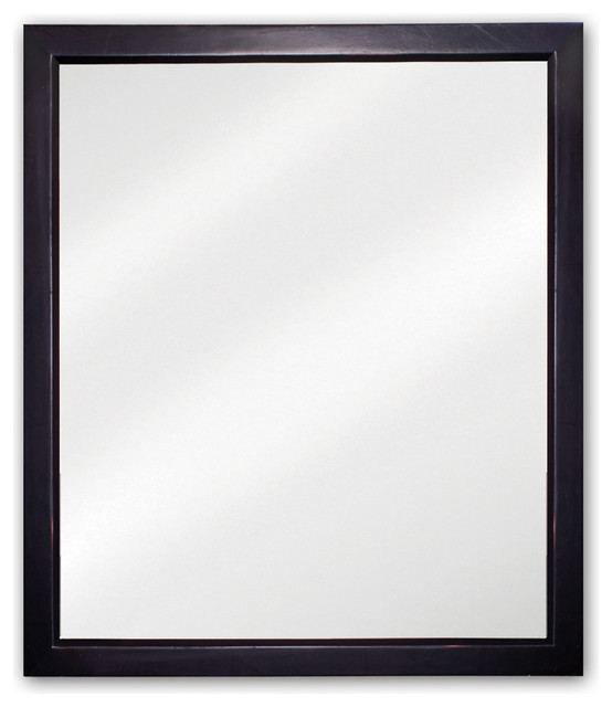 24 X 28 Black Mirror With Beveled Glass Traditional Bathroom Mirrors Other By
