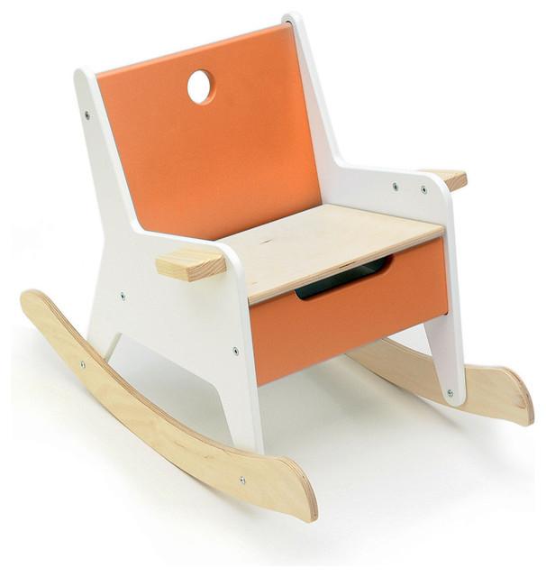 Offi rockabye storage rocker in orange modern kids for Orange kids chair