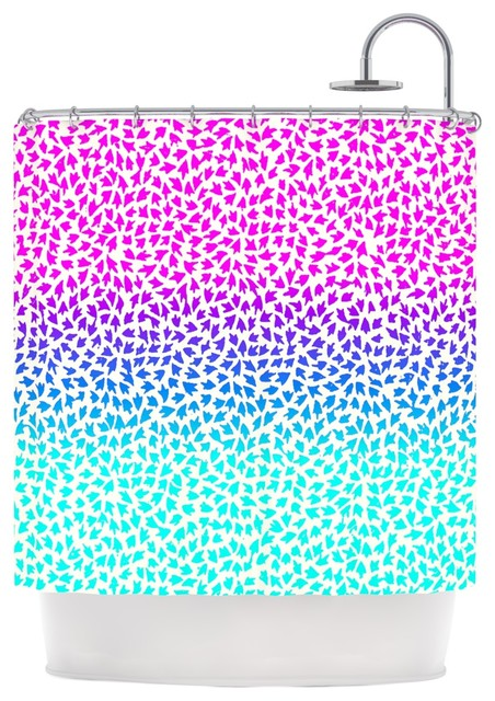 Sreetama ray ombre arrows blue pink shower curtain for Pink and blue bathroom accessories