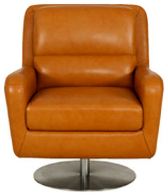 Swan top grain leather swivel chair modern armchairs for Modern swivel accent chair