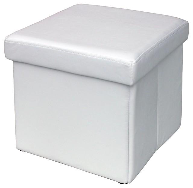 Modus Furniture Urban Seating Storage Bench Natural Linen: Urban Seating Folding Storage Cube In White Leatherette