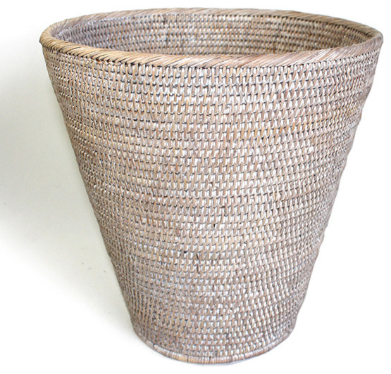 White rattan waste basket round beach style wastebaskets by hudson vine - Rattan waste basket ...