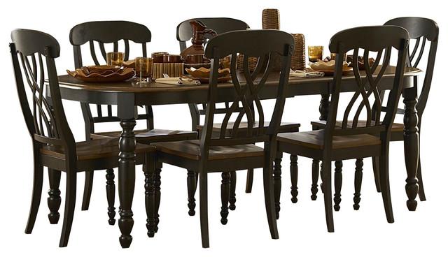 Homelegance ohana 7 piece rectangular dining room set in for Traditional black dining room sets