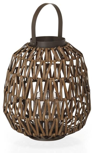 Vahitia lanterne photophore en rotin exotique - Lanterne exterieure suspendue ...