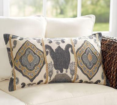 Chiara Ikat Embroidered Lumbar Pillow Cover, 16 x 26