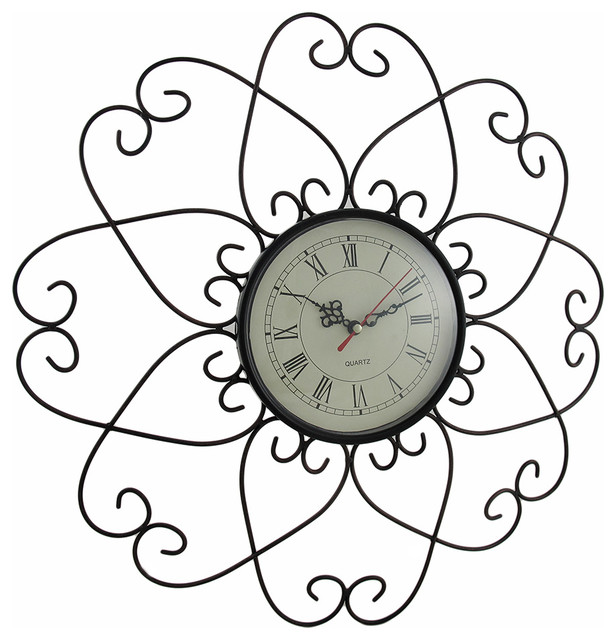 Bronze Finished Metal Flower Wall Clock 17 12 Inch