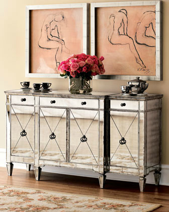 Amelie Mirrored Console - Midcentury - Buffets And ...
