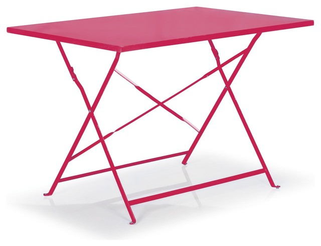 Pims table rectangulaire et pliante rose contemporain - Table jardin rose ...