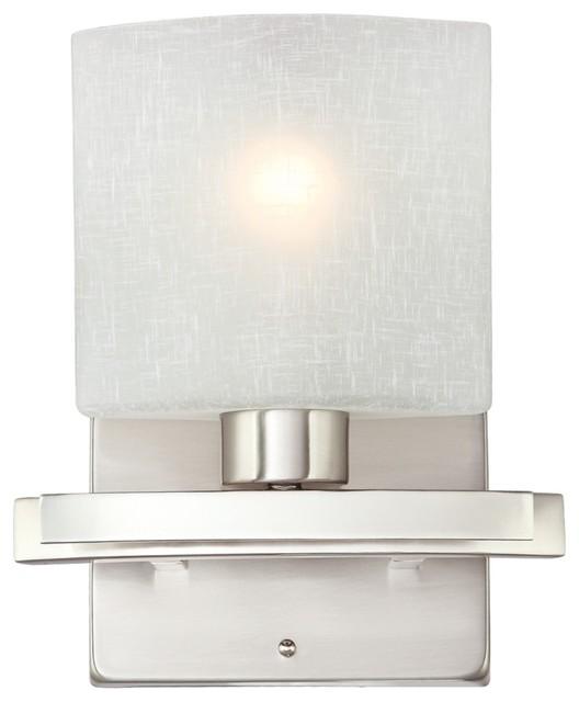 Possini white linen glass 8 1 2 wide bath wall sconce for Eclairage lavabo