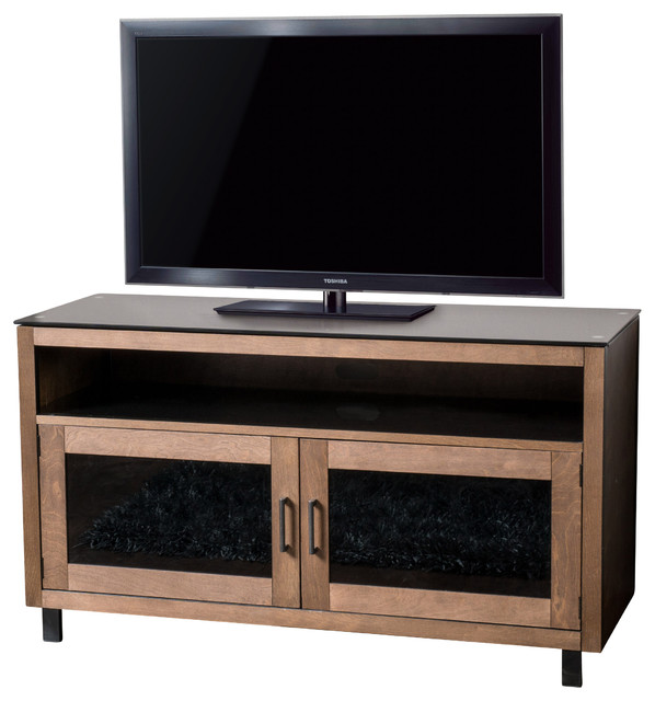 Declan 50 quot mocha stained wood media console tv stand transitional tv