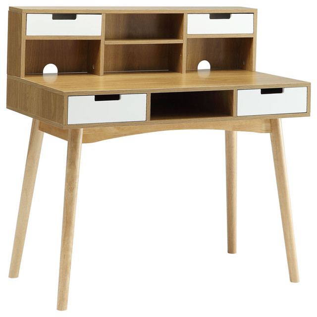 Oslo Deluxe Desk With Hutch, White and Light Oak - Modern - Desks And Hutches - by Convenience ...