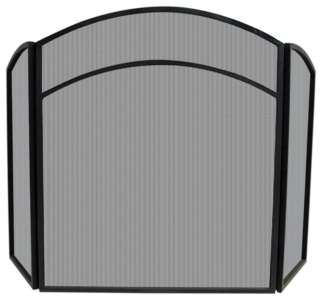 3 fold arch top screen contemporary fireplace screens by blue rhino uniflame - Houzz fireplace screens ...