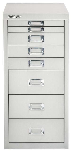 Bisley 8-Drawer Under Desk Multi-Drawer Cabinet in Bright Silver Steel - Traditional - Filing ...