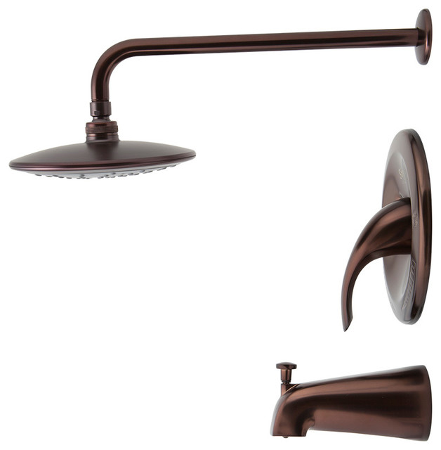 3 Piece Rain Showerhead Set Oil Rubbed Bronze Transitional Tub And Showe