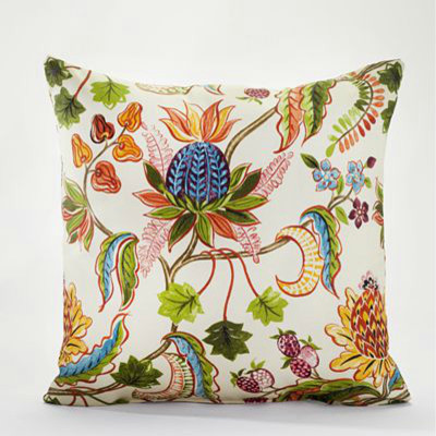 White Indonesian Fruit Toss Pillow Contemporary