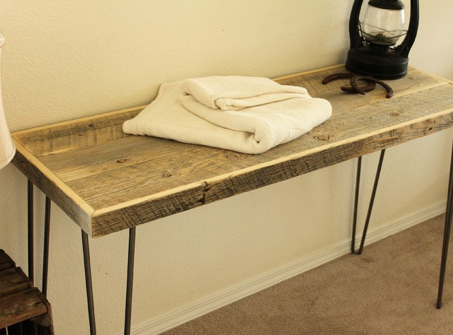Reclaimed Wood Tall Console Table Modern Side Tables
