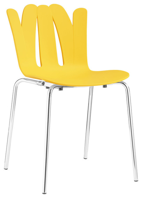 Modern Stackable Molded Plastic Dining Side Chair Yellow
