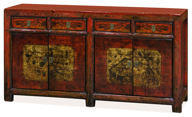 Tang Style Reclaimed Wood Sideboard Distressed Red Asian Buffets And