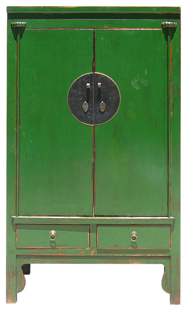 Chinese Moon Face Green Lacquer Cabinet - Asian - Accent Chests And ...