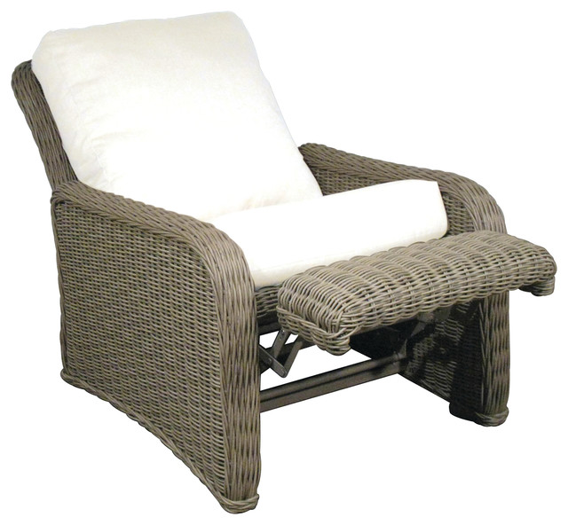 Hauser coastal all weather wicker recliner with cushions for Reclining patio chair