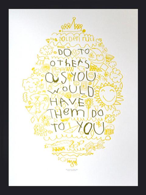Golden Rule Letterpress Poster - Eclectic - Artwork - by Studio On Fire
