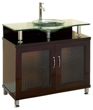 Charlton 36 Bathroom Vanity Doors Only Espresso W Clear Or Frosted Glass C Modern