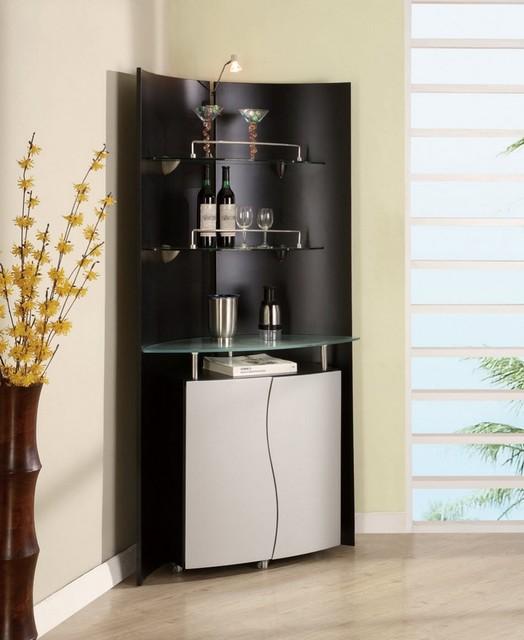 Modern Corner Bar Unit In Black And Silver Contemporary