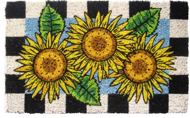 Checkered sunflower handwoven coconut fiber doormat for International home decor rugs