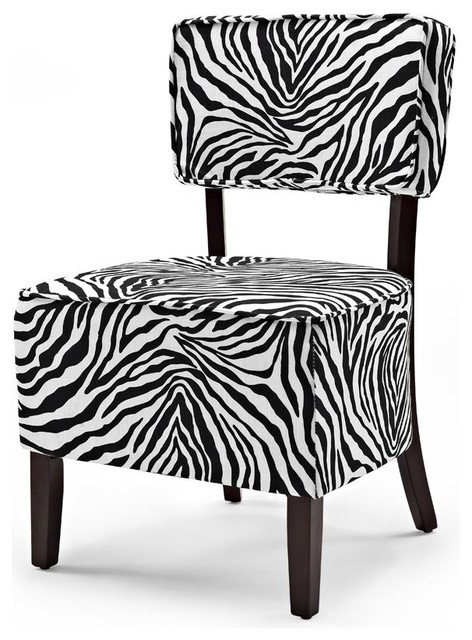 Zoey Accent Chair in Black and White Traditional