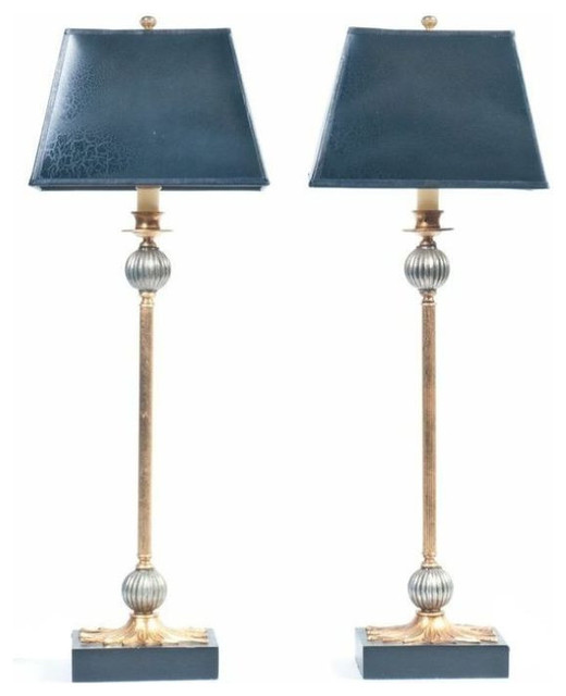 Sold Out Pair Of Black And Gold Buffet Lamps 450 Est