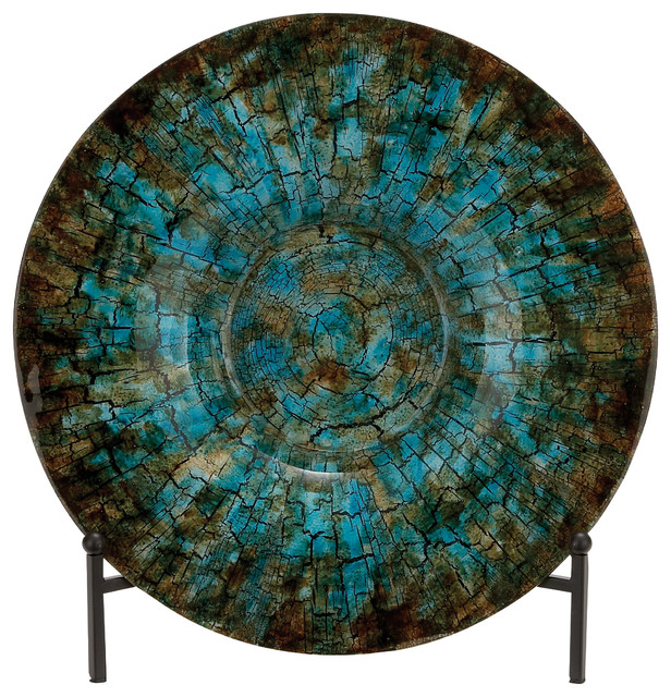 Turquoise charger plate with stand contemporary for Decor plates