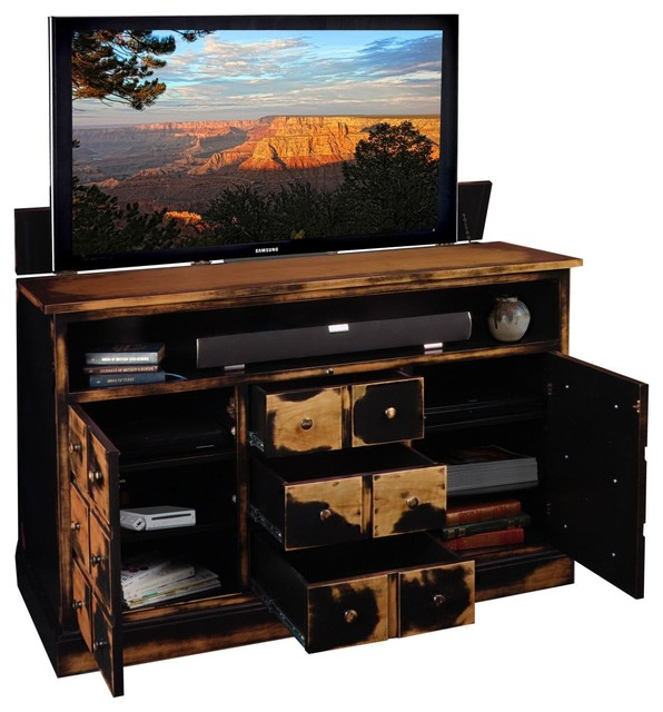 Tv lift cabinet nantucket tv console asian for Asian console cabinet