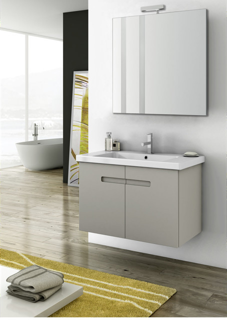 Wall Mounted Vanity Set In Two Finishes Contemporary Bathroom Vanities And Sink Consoles