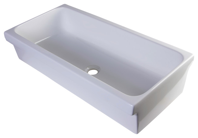 White Trough Bathroom Sink : White Above Mount Porcelain Bath Trough Sink - Modern - Bathroom Sinks ...