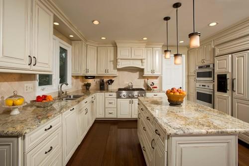Golden Persa Granite Countertop Kitchen Design Ideas