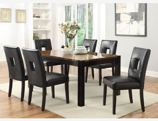 7 PC Modern Walnut Wood Dining Room Set Table Chairs Leather Seat Contempor