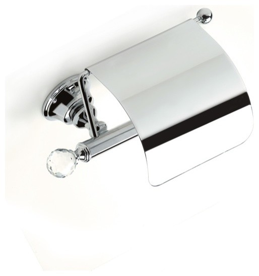 Brass Covered Toilet Roll Holder With Crystal Gold