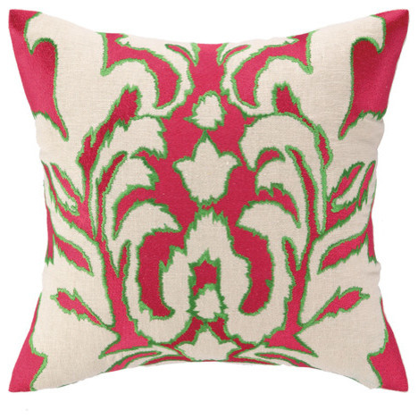 Modern Embroidered Throw Pillow : Ikat Embroidered Decorative Pillow modern-decorative-pillows